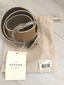 Sezane Beige Suede Gold Buckle Artemis Belt Size T. 80 New With Tag