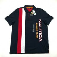 Nautica Lil Yachty Collection Mens Navy Striped  PC Polo Large NEW