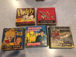 Lot of 5 vintage Castle Films 8mm 16mm movie tapes Hoppalong Cassidy Terry Toons
