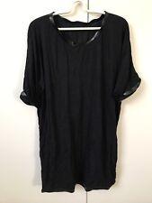 Stylenanda Korean Knit Stretchy Tshirt Dress SiZe 10-12 Black Faux Leather Trim