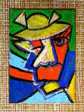 ACEO original pastel painting outsider folk art brut #010504 abstract surreal
