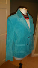 Turquoise Real Suede Leather Jacket Women Authentic Clothing Company, UK 14