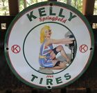 VINTAGE 1944 DATED KELLY TIRES PORCELAIN GAS OIL MOTORCYCLE SIGN
