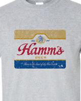 Hamm's Beer T-shirt retro vintage style distressed print grey graphic tee