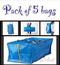 IKEA 5 X LARGE BLUE Zippered ECO BAG Shopping Laundry Storage Travel Tote FRAKTA