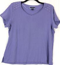 Karen Scott size 1X top purple short sleeve lace shoulder tee NEW