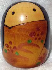"""Japanese Japan Kokeshi Wooden Doll 3 1/2"""" H Girl Glitter Marked on bottom"""