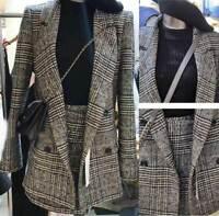 Women's Houndstooth Slim Fit Coat Business Suit Formal dress Jacket + Skirt 2PC