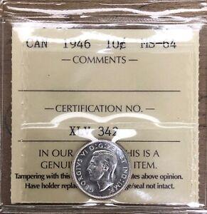 1946 Canada Ten Cents - ICCS MS-64 Cert#XLV 342
