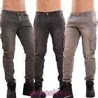 Jeans pantalon en chino cargo poches amples latéraux manchettes neuf 6802-MOD