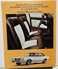 1976-77 Mercury Grand Monarch Ghia Sales Data Sheet Dealer Handout