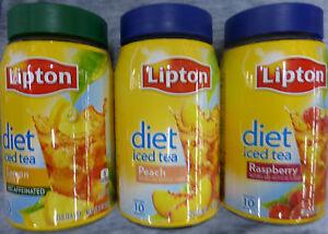 LIPTON DIET INSTANT POWDERED ICED TEA MIX ~ FLAVOR CHOICES *SUGAR FREE  PICK ONE