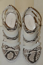 NEW GUCCI Exotic PYTHON Skins BROWN WHITE BEIGE SANDALS SHOES 39