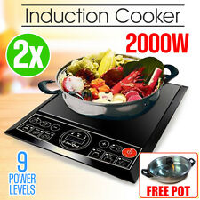 2x 2000W Electric Induction Cooktop Portable Cooker Kitchen Hot Plate w/ POT