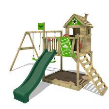 FATMOOSE Spielturm Klettergerüst RockyRanch Roll XXL, Schaukel & grüne Rutsche