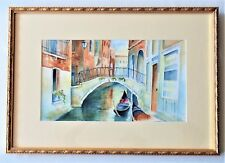 Original Watercolor Lance Johnson Billings MT Boats In A Canal Signed Framed '03