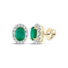 14kt Yellow Gold Womens Oval Emerald Diamond Fashion Earrings 1-7/8 Cttw