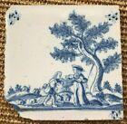 ANTIQUE 18C DUTCH DELFT TILE BLUE AND WHITE SHEPHERDS IN A LANDSCAPE c.1780
