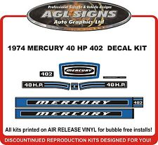 1974 MERCURY 40 HP   402  OUTBOARD DECAL KIT  reproductions stickers