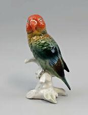9959532 Porzellan Figur Pfirsichköpfchen Papagei Vogel Ens H15,5cm