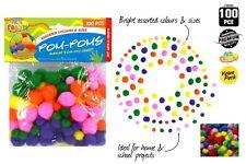 100 pieces Craft Pom Poms Assorted Colours DIY Fun Art Decoration 4 ball sizes
