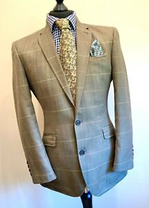 Samuel Windsor Mens Herringbone Windowpane Wool Linen Mix Jacket Blazer Size 38R
