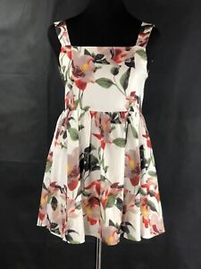 Women's AA&ZZ White Multi Floral Print Blouse/mini Dress Size S PreOwned