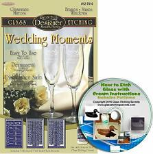 Wedding Party Glass Etching Stencils (3 Pack), Great for Champagne Glasses + CD