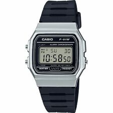 Casio 7 Year Battery Chronograph Watch, Black Resin Strap, Alarm, F91WM-7A