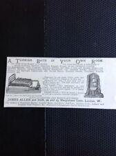 K1-8 Ephemera Advert 1885 A Turkish Bath In Your Own Room James Allen London