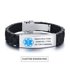 Black Silicone Wristband Medical Alert ID ICE Men Bracelet Custom Free Engraving