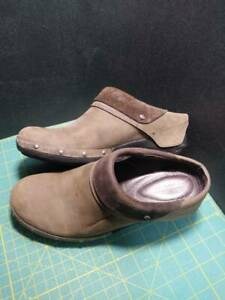 Merrell Womens Luxe Wrap Drizzle Clogs Shoes Brown Leather Slip On Studded 8.5