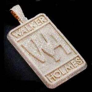 Mens Custom Name initial Letter Pendant Made VVS Diamonds 14k Yellow Gold Finish