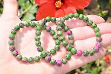Premium CHARGED Ruby Zoisite Crystal 8mm Bead Bracelet Stretchy ENERGY REIKI
