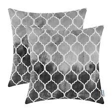 2Pcs Cushion Cover Pillow Case Watercolor Geometric Trellis Chain Gray Grey 45cm