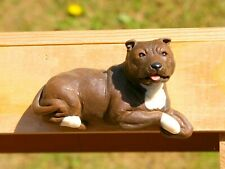 "Staff Bull Terrier Dog Staffordshire Sculpted 3 1/2"" Fridge Refrigerator Magnet"