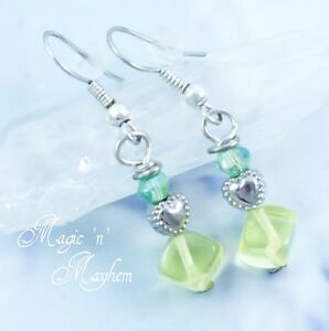 Sunny Yellow Glass Heart & Green Crystal Earrings - Handmade Jewelry - Spring