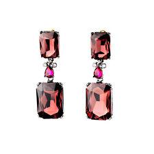 Boucles d`Oreilles Clous Argenté Noir Art Deco Carré Bordeaux Rouge Class  AA 13