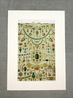 Antique French Print Lithograph Etruscan Jewelry Precious Gems Victorian Art