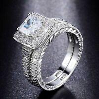 2 Teile echt 925 Sterling Silber Ring Hochzeit 1.0 Karat Zirkonia Damen Schmuck.