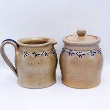 "1990 Eldreth Pottery USA Cobalt Salt Glazed Stoneware Creamer & Sugar 5""H 4""W"
