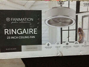 """FANIMATION STUDIO COLLECTION 3-BLADE RINGAIRE 23"""" CHROME LED INDOOR CEILING FAN"""