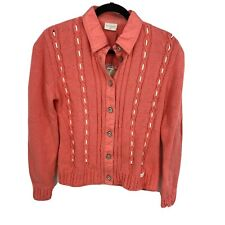 Blue Willi's Danish Size M Coral Cable Knit Button Down 100% Cotton Sweater