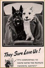 1952 Black And White Scotch Whiskey Yorkie Westie Dennis Art Back Seat Print Ad
