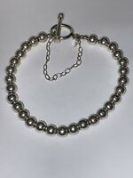 """Silpada Sterling Silver 6mm Ball Bead Bracelet Toggle & Safety Chain 7"""""""