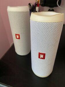 x2 JBL Flip 4 Portable Bluetooth Speaker - White