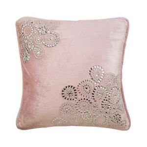 Decorative Pillow Pink 18x18 inch Velvet, Crystal Rhinestone - Crystal Fun