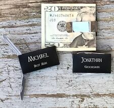 8 Each Personalized Engraved Money Clips Knife Groomsman Best Man Gifts Black