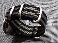XULU 5 RINGS BALISTIC NYLON STRAP - BLACK-GRAY-BOND FOR SEIKO OR BOSTOK ST-03