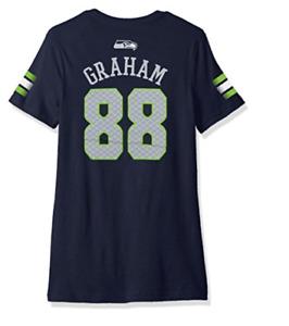 Seattle Seahawks Jimmy Graham Girl's Large V-Neck T-Shirt, Brand New